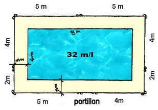 implantation clôtures sur piscine de 8M x 4M avec portillon