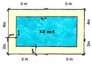 implantation barrières sur piscine de 8M x 4M sans portillon